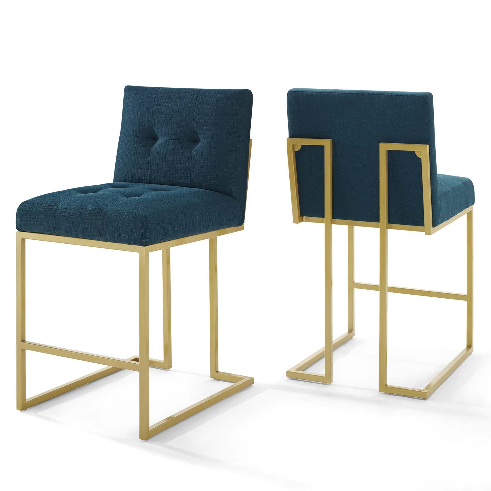 Privy Gold Stainless Steel Upholstered Fabric Counter Stool Set of 2