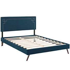 Ruthie King Fabric Platform Bed with Round Splayed Legs