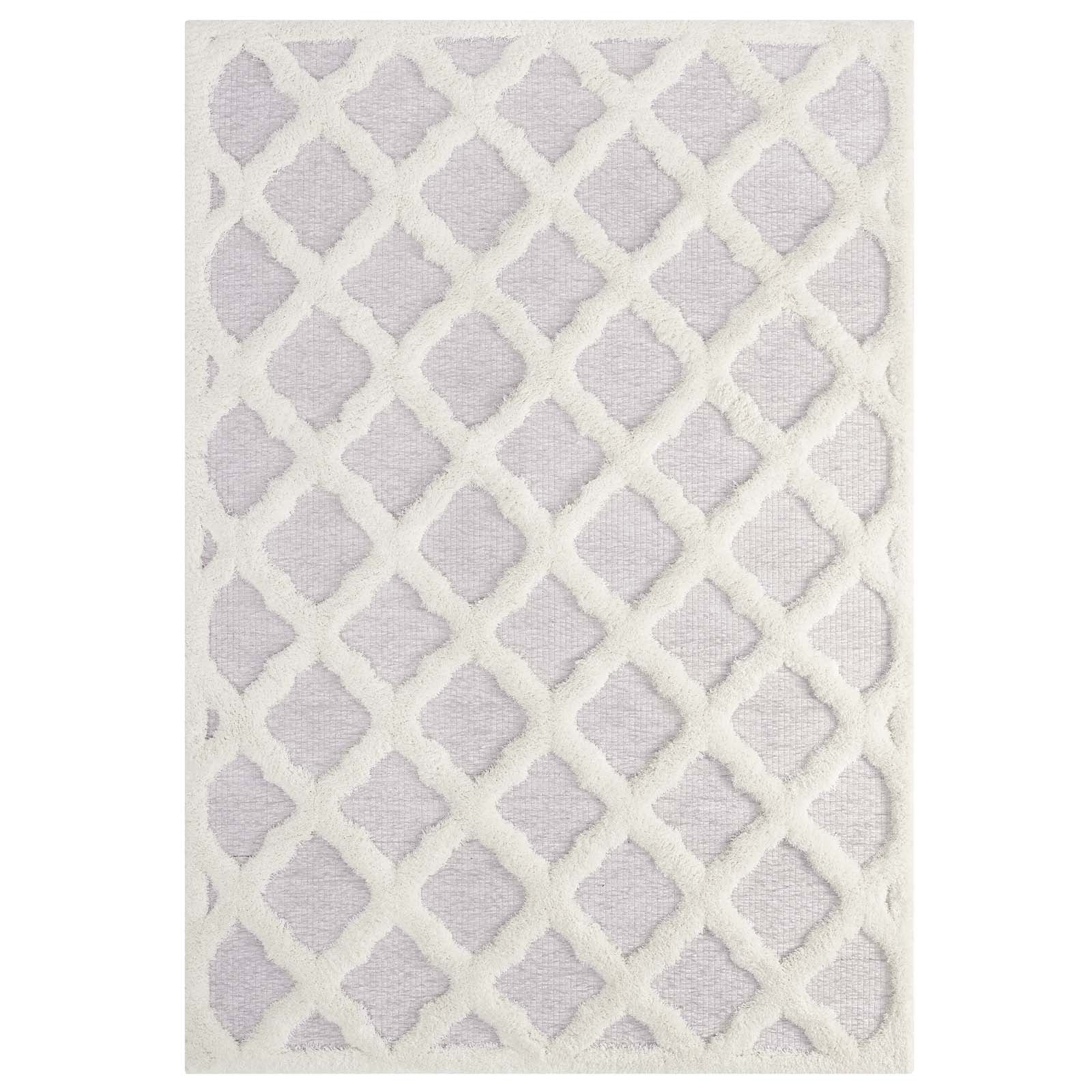 Whimsical Regale Abstract Moroccan Trellis 5x8 Shag Area Rug