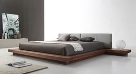 Modrest Opal Queen Modern Walnut & Grey Platform Bed