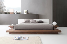 Modrest Opal King Modern Walnut & White Platform Bed