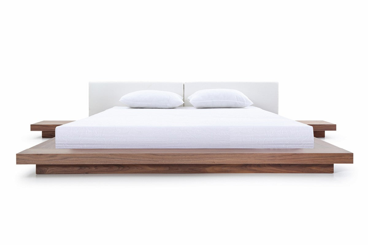Modrest Opal Queen Modern Walnut & White Platform Bed