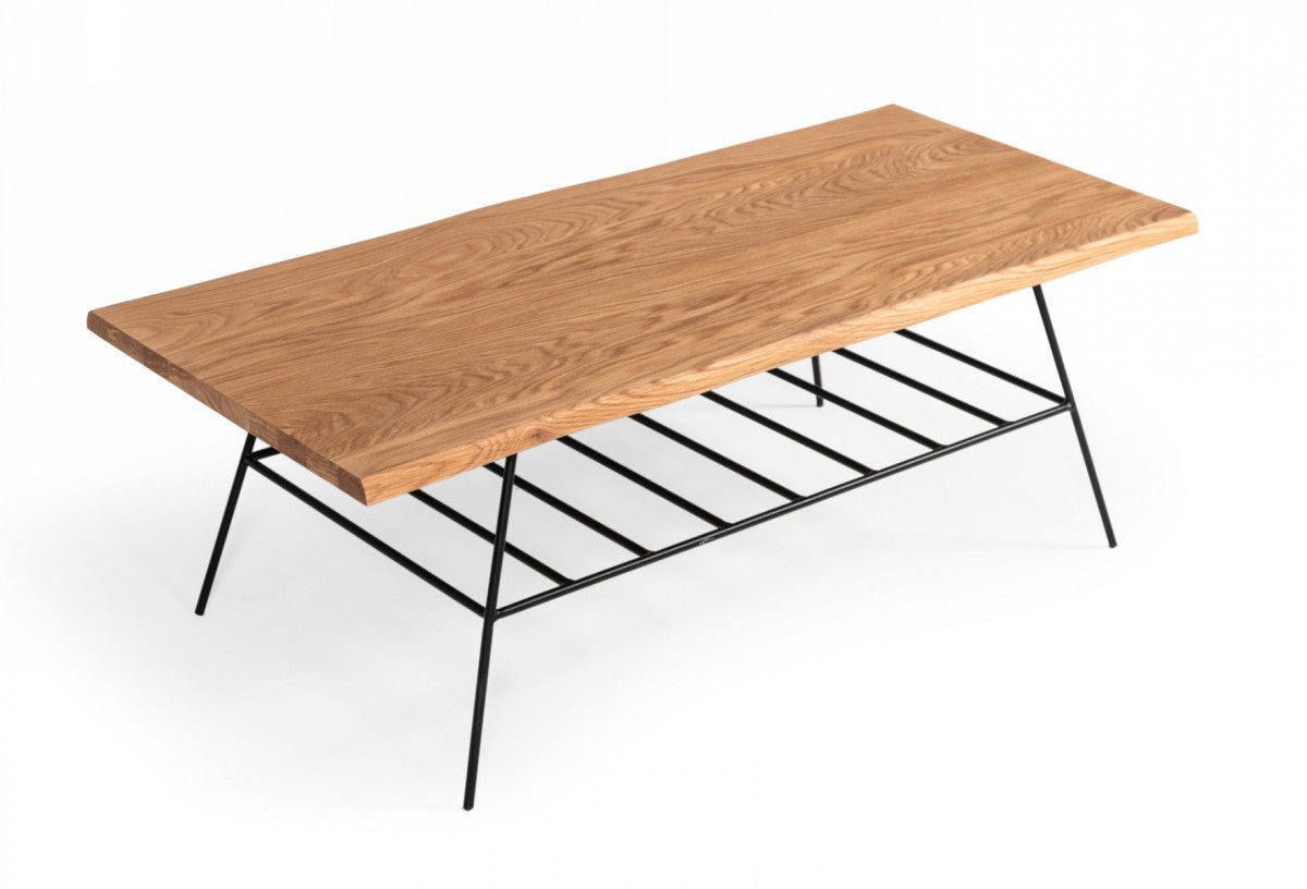 Modrest Barnum - Industrial Oak and Black Iron Live Edge Coffee Table