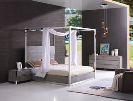 Modrest Arlene King Modern Grey Elm & Stainless Steel Canopy Bed