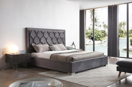 Modrest Audrey King Modern Grey Velvet & Stainless Steel Bed