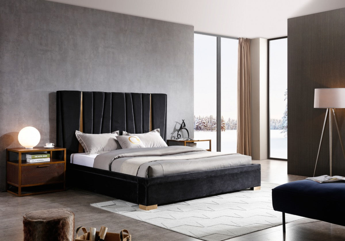 Modrest Evonda Queen Modern Black Velvet & Brass Bed