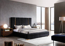 Modrest Evonda King Modern Black Velvet & Brass Bed