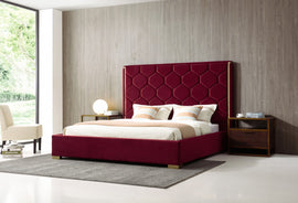 Modrest Janet Queen Modern Red Velvet & Gold Bed