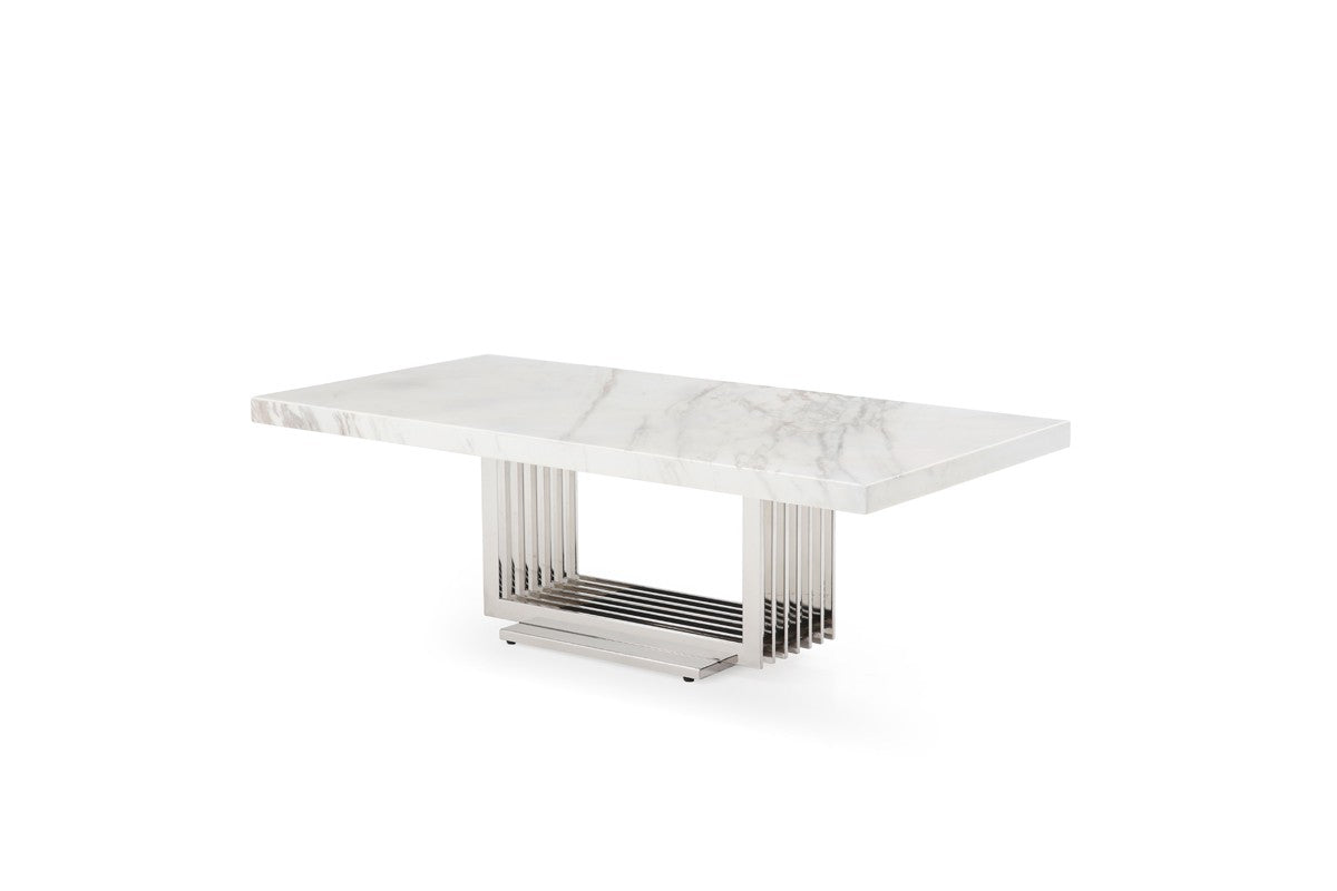 Modrest Kingsley Modern Marble & Stainless Steel Coffee Table