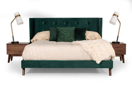 Modrest Durango Queen Modern Green Fabric & Walnut Bed