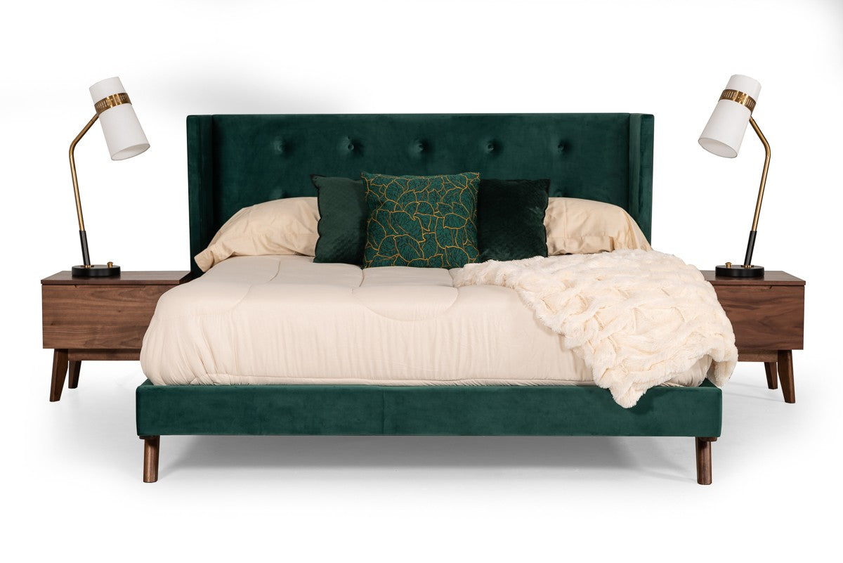 Modrest Durango King Modern Green Fabric & Walnut Bed