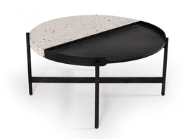 Modrest Gemini Modern White Terrazzo Concrete & Black Metal Coffee Table