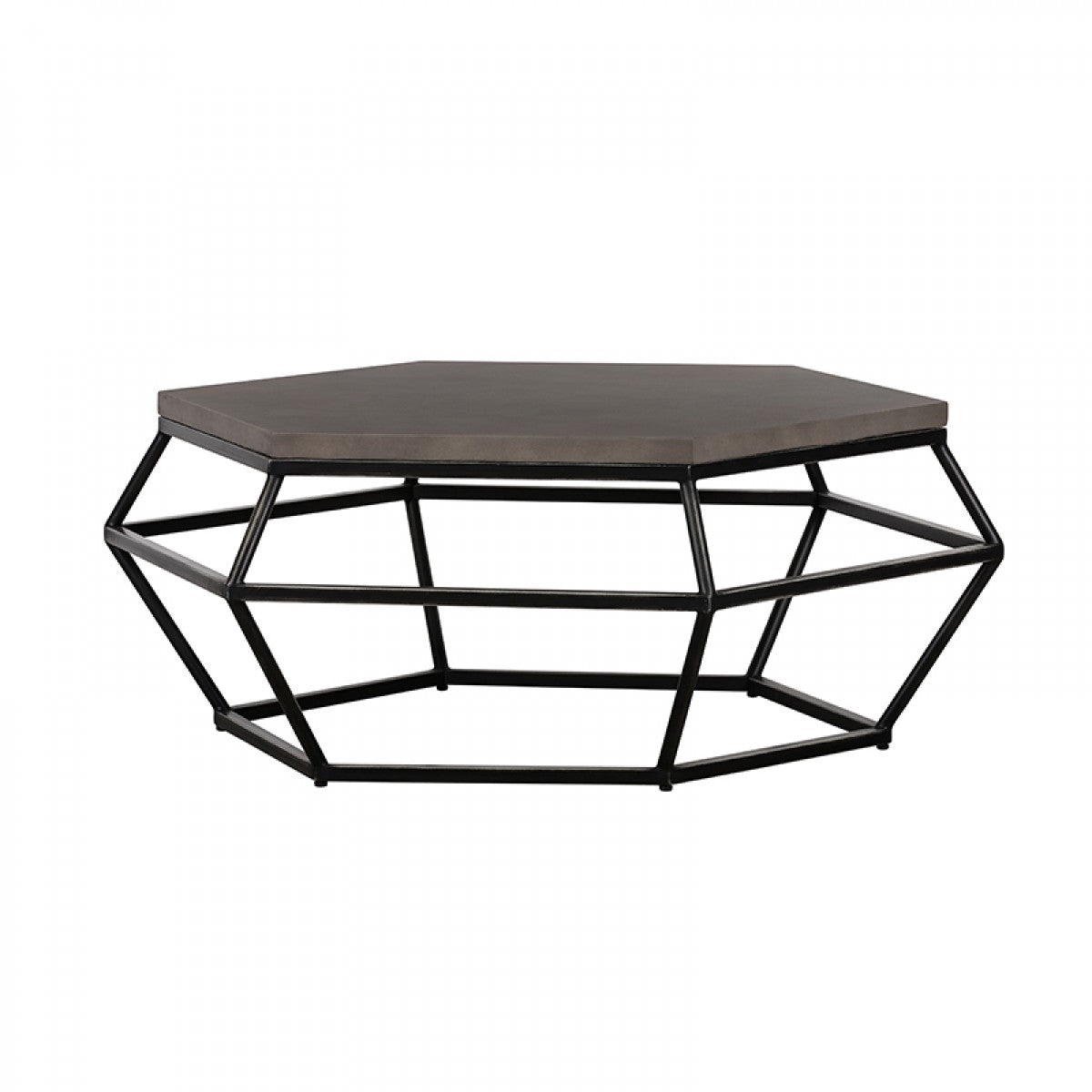 Modrest Tartan Modern Concrete & Black Metal Coffee Table