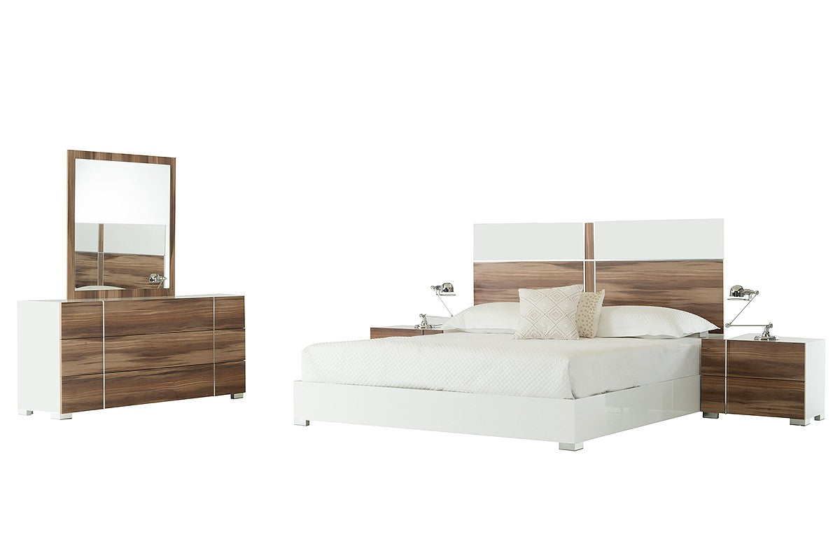 Nova Domus Giovanna Italian King Modern White & Cherry Bed