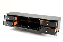 A&X Gothic Transitional Black Crocodile Lacquer TV Cabinet