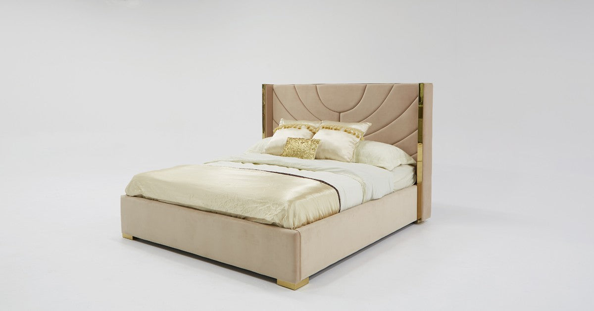 Divani Casa Visalia King Modern Beige Velvet & Gold Eastern King Bed