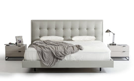 Modrest Hera Queen Modern Grey Leatherette Bed