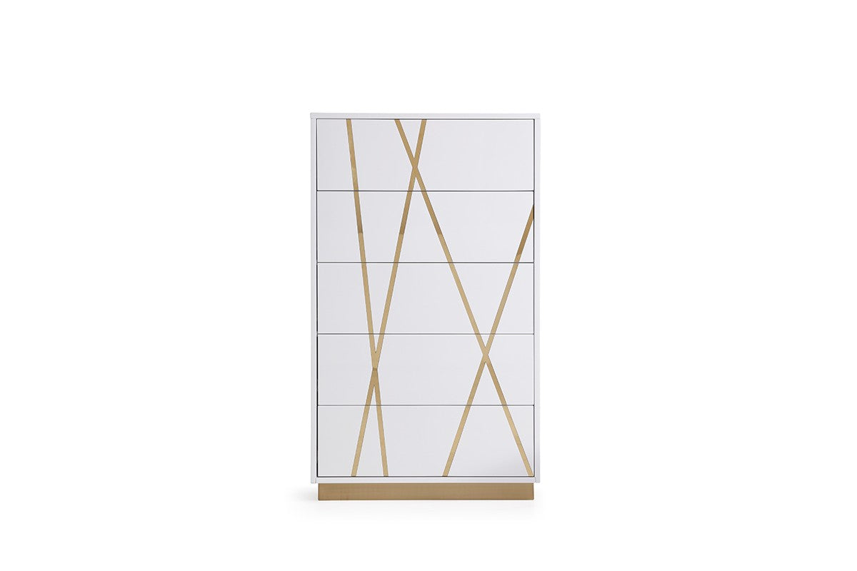 Modrest Nixa Modern White & Gold Chest