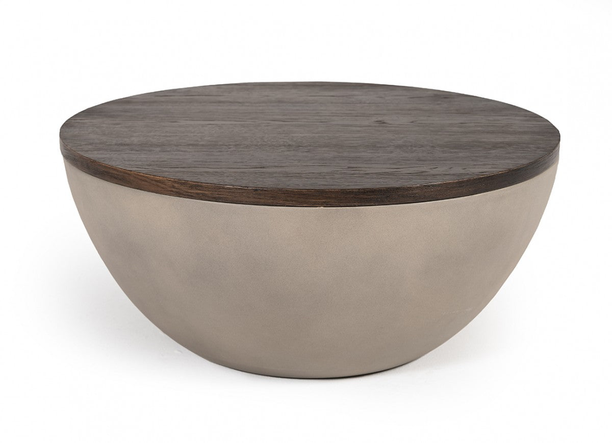 Modrest Marie Modern Concrete & Brown Oak Round Coffee Table