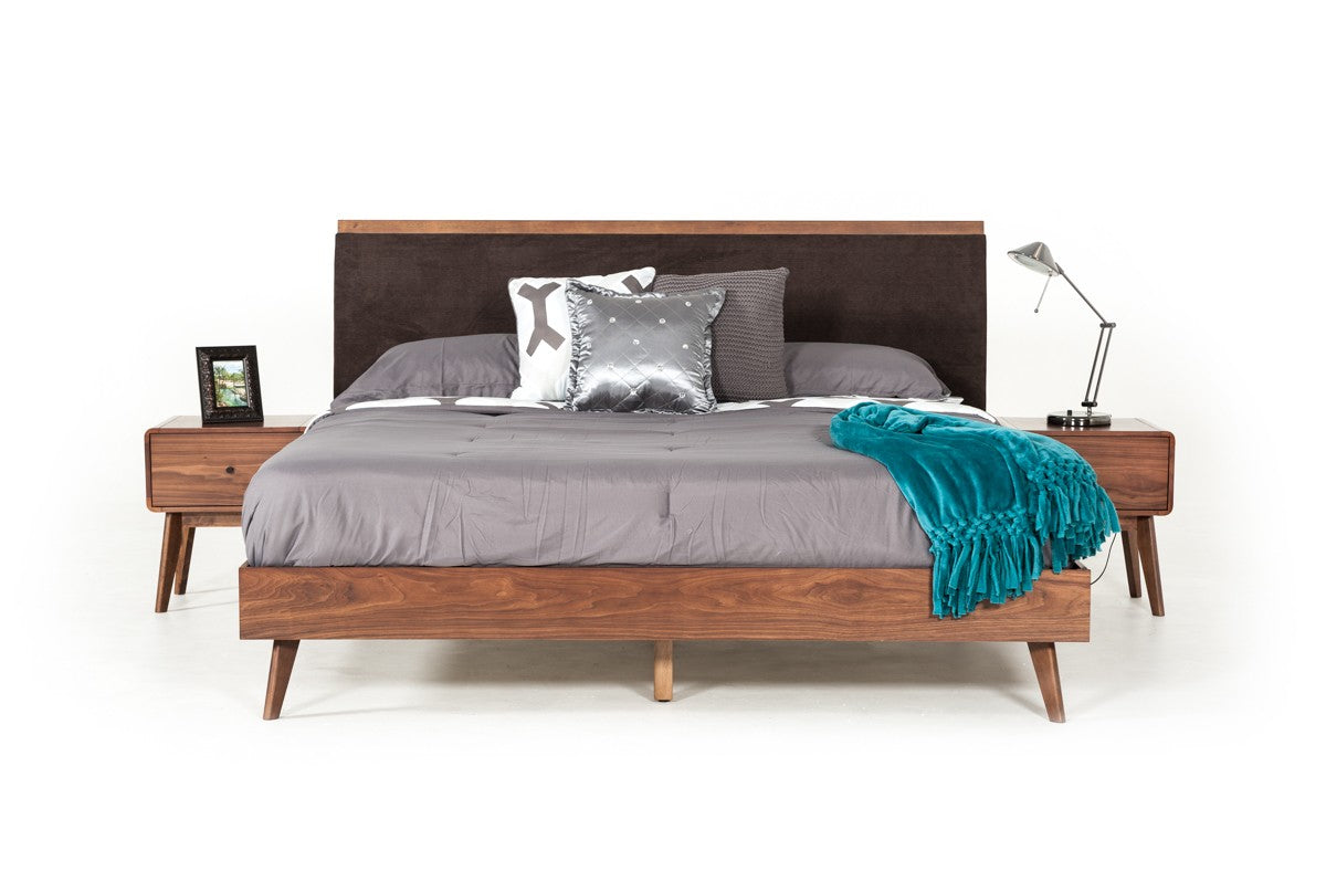 Modrest Marshall King Mid-Century Modern Brown Fabric & Walnut Bed