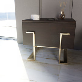 Modrest Moontide Modern Smoked Ash & Gold Nightstand