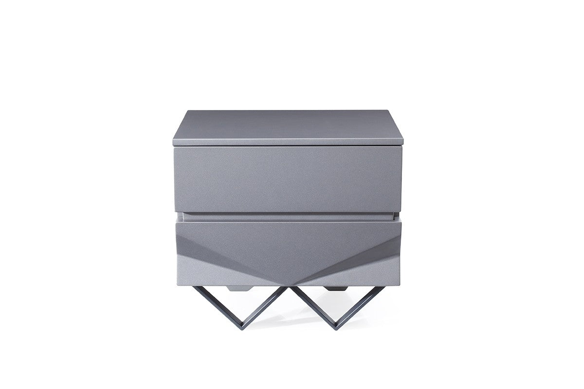 Modrest Duke Modern Grey & Black Gun Chrome Nightstand