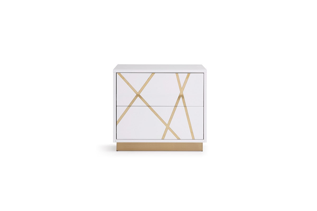 Modrest Nixa Modern White & Gold Nightstand