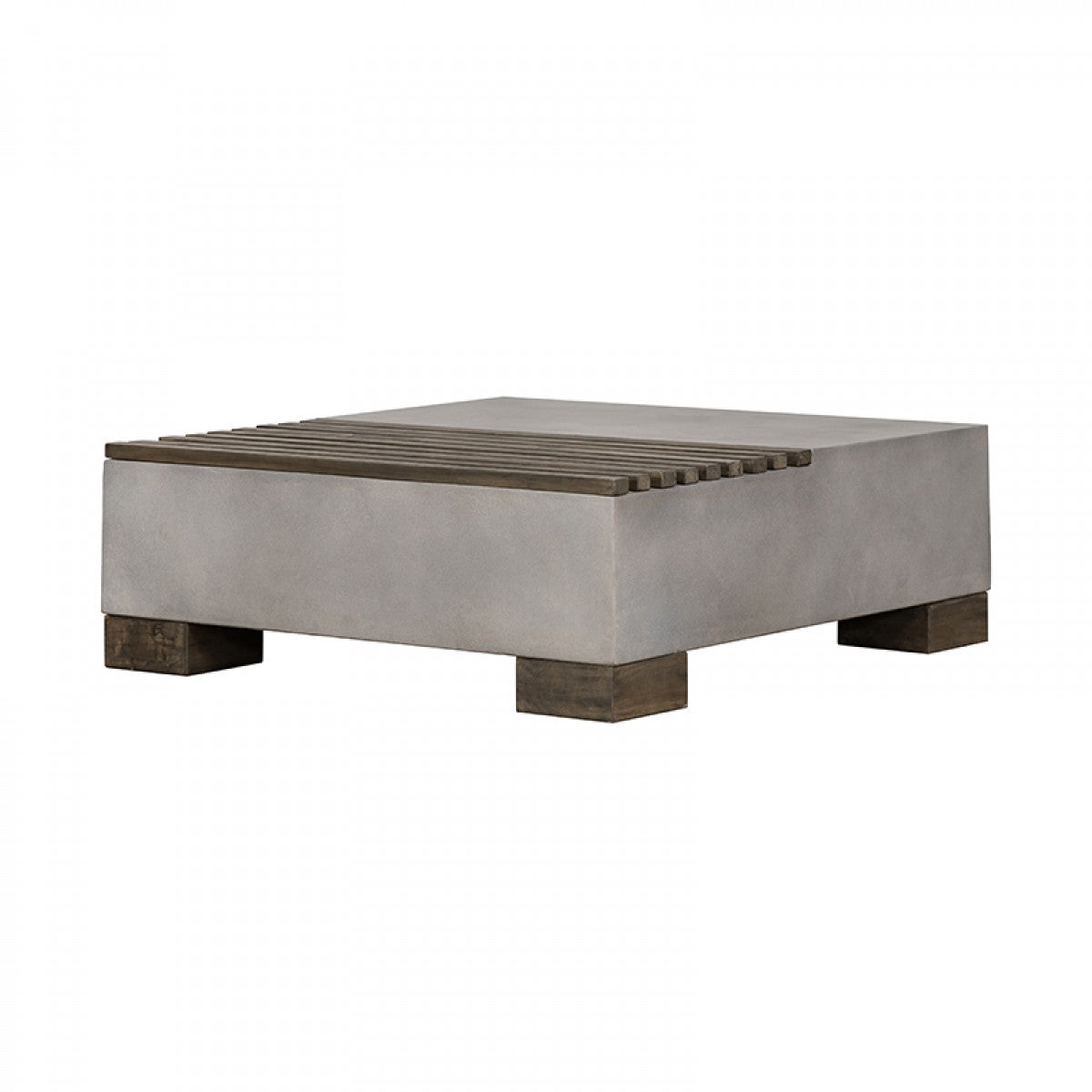 Modrest Delaware Modern Concrete & Acacia Square Coffee Table