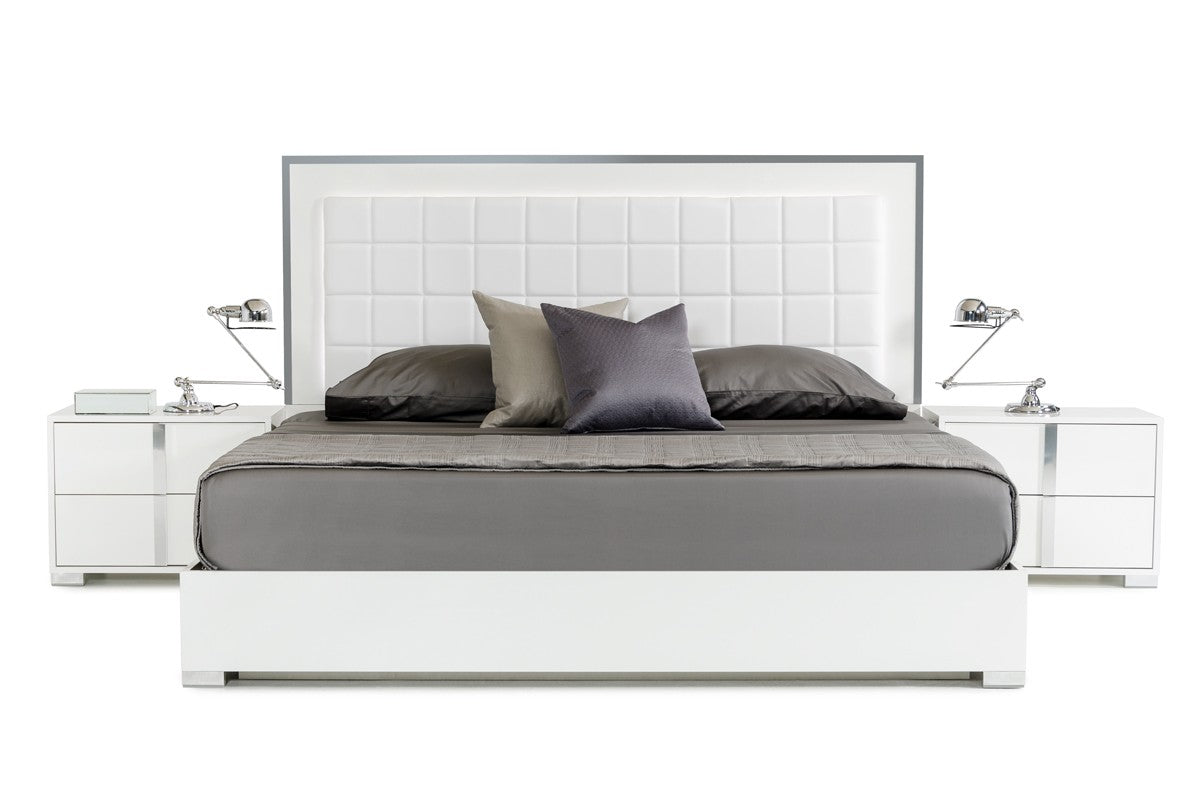 Modrest San Marino King Modern White Bed