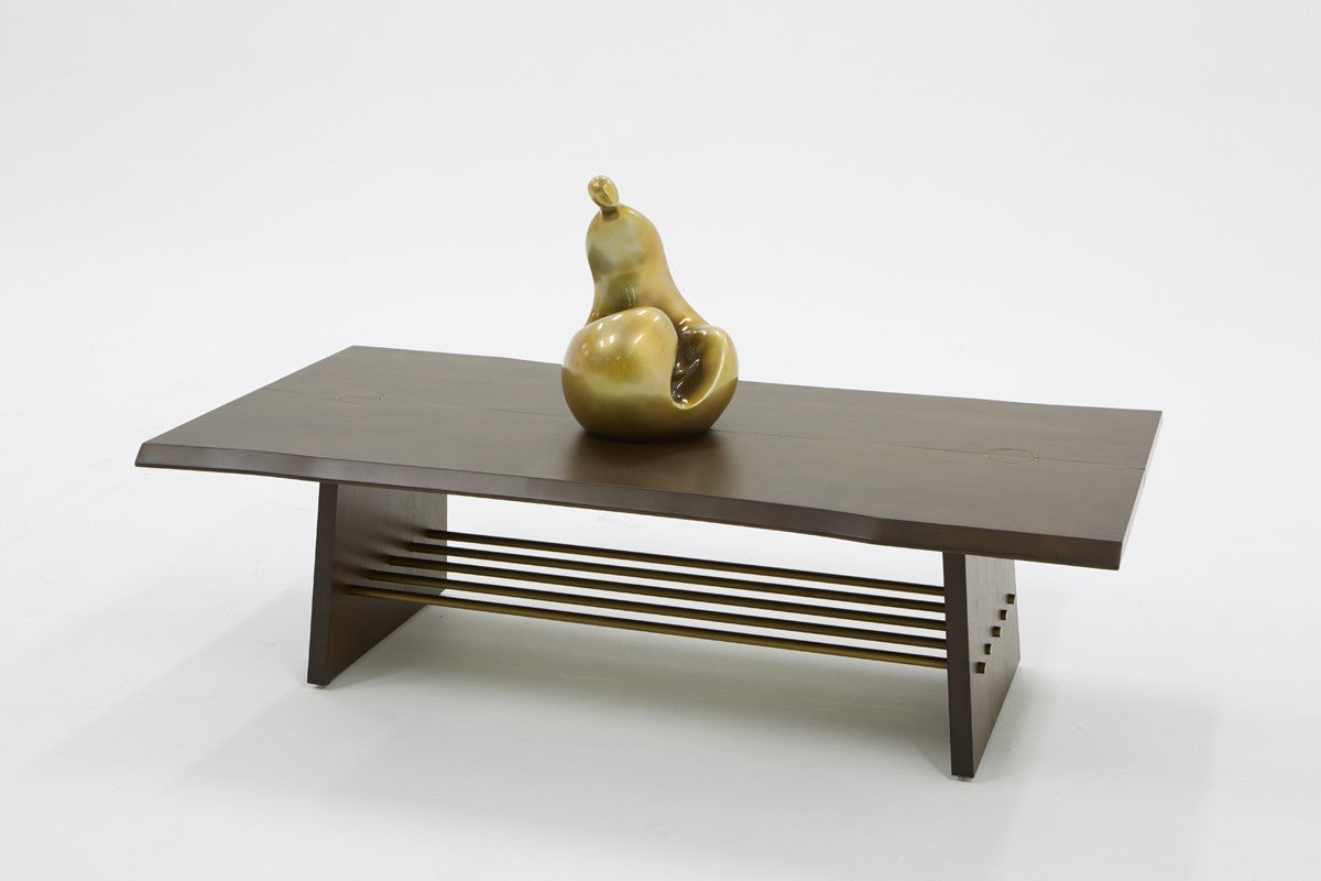 Modrest Selena Modern Acacia & Brass Coffee Table