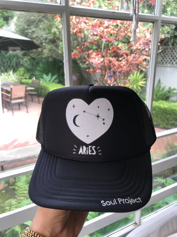 Hey Babe What's Your Sign? We Have a Trucker Hat for That! Our Zodiac trucker hats are the perfect season for all the astrology lovers. Designed and finished at The Soul Project Laguna Beach. The Soul Project located in Laguna Beach California is Laguna Beach's must visit shop.