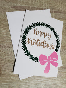 Pink & Green Holiday Greeting Card Set