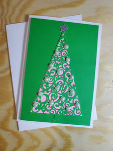 Sparkly Tree  with Pearls Greeting Card