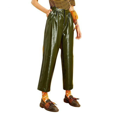 Army Green Leather Pants