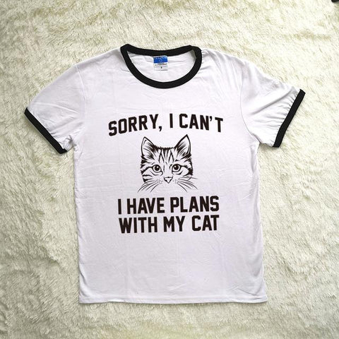 """Sorry I Cant I Have Plans with My Cat"" Ringer Tee"