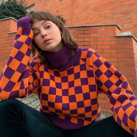 Checkerboard Turtleneck Sweater
