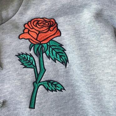 Rose Embroidered Hoodie