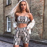 Snake Skin Print Tube Top & Biker Shorts Set