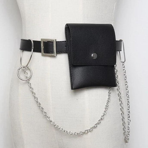 Basic Button Belt Bag With Detachable Chains