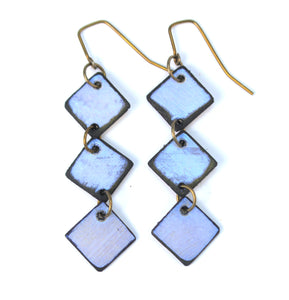 Blue Diamond Lil Earrings made from lightweight rawhide with hypoallergenic ear wires