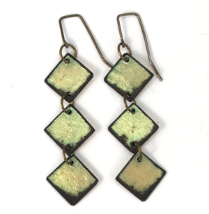 Green Diamond Lil Earrings made from lightweight rawhide with hypoallergenic ear wires