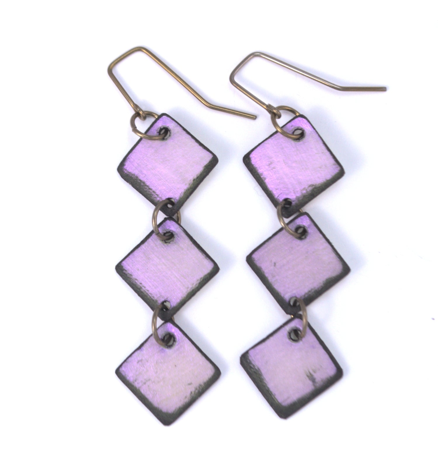 Violet Diamond Lil Earrings made from lightweight rawhide with hypoallergenic ear wires