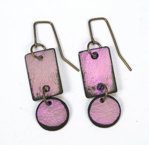 Lazy Circle earrings made from rawhide. Iridescent violet, hypoallergenic ear wires,