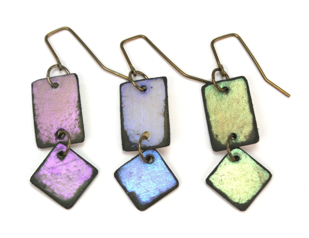 Lazy Diamond earrings in three iridescent colors, violet, blue and green