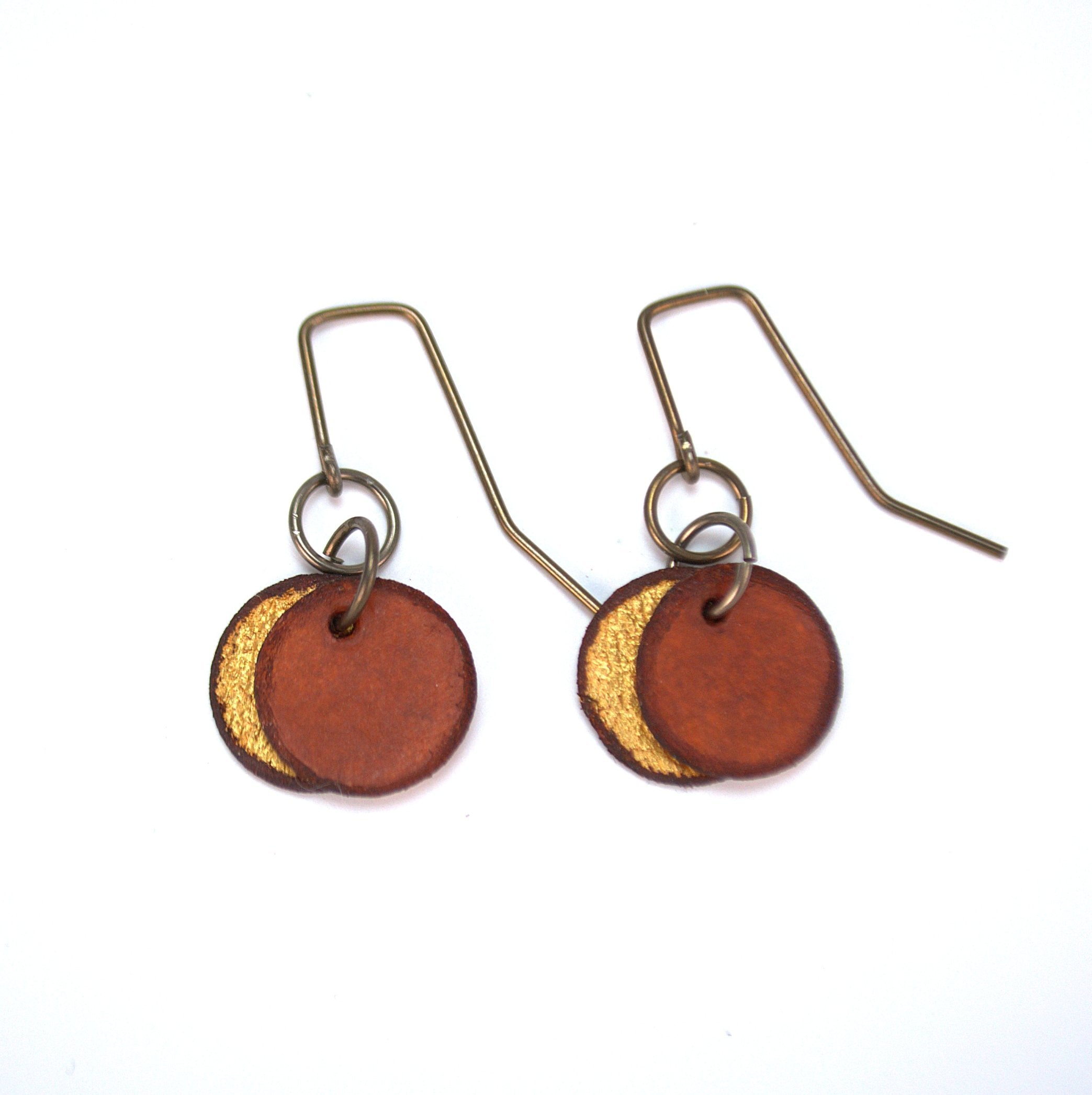 Brown circle earrings made from rawhide, super lightweight