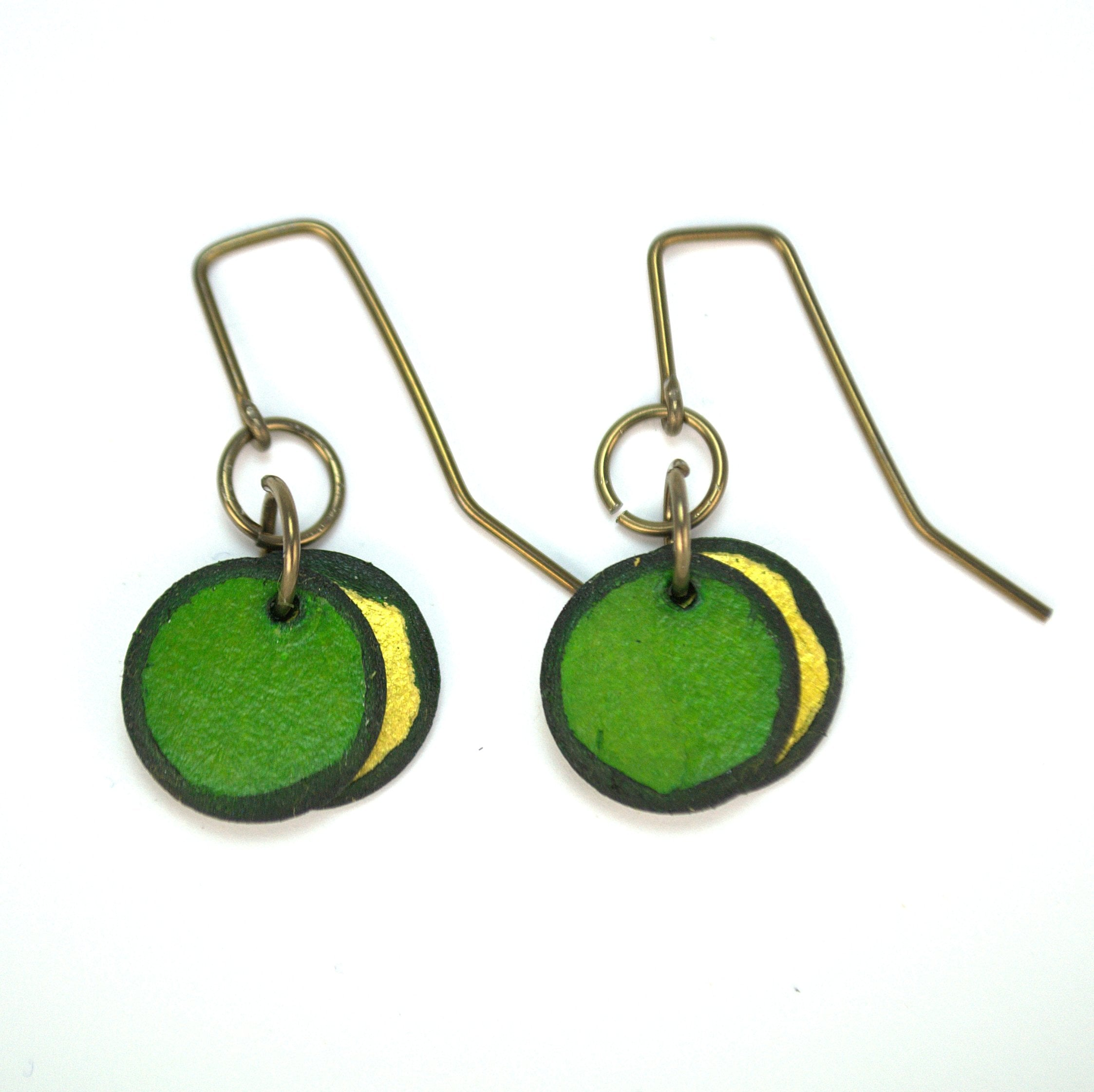 Emerald green double circle earrings made from rawhide, super lightweight