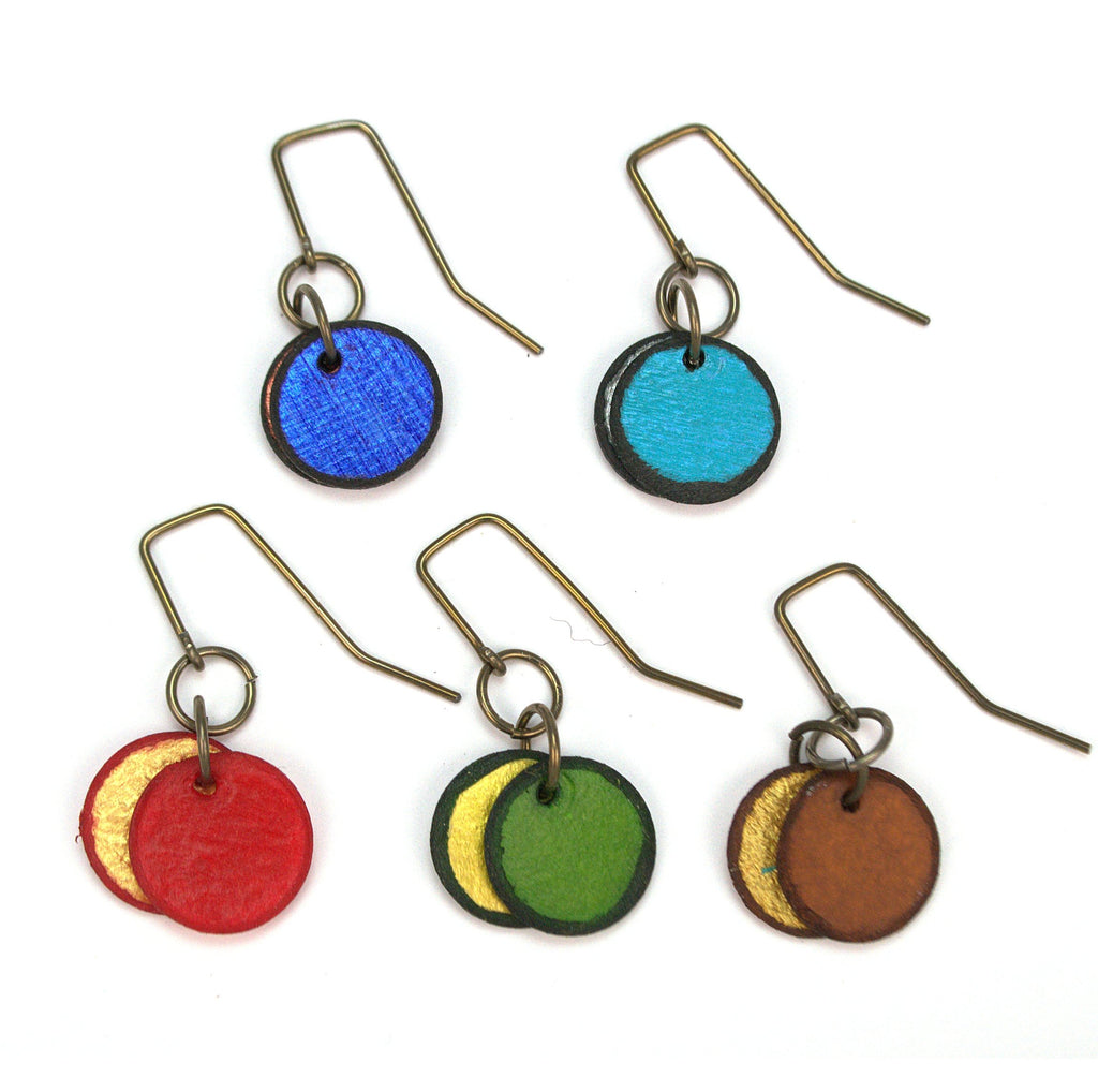 Mini Swingers earrings, circle shape, colors red blue turquoise emerald and brown, made from rawhide