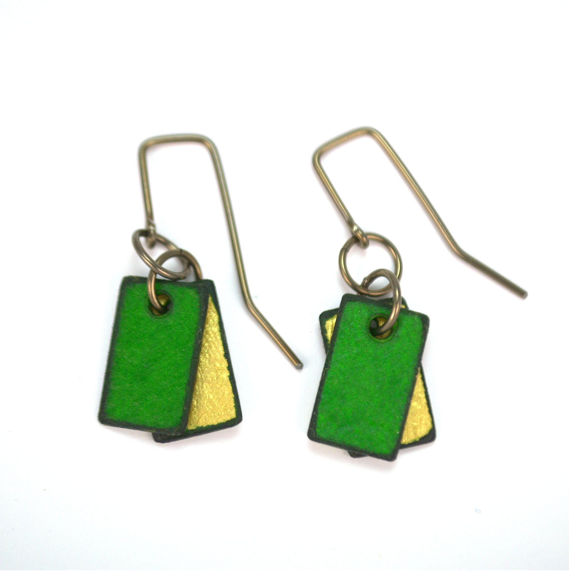 Mini emerald green rectangle earrings, made from rawhide in Cheyenne Wyoming, hypoallergenic