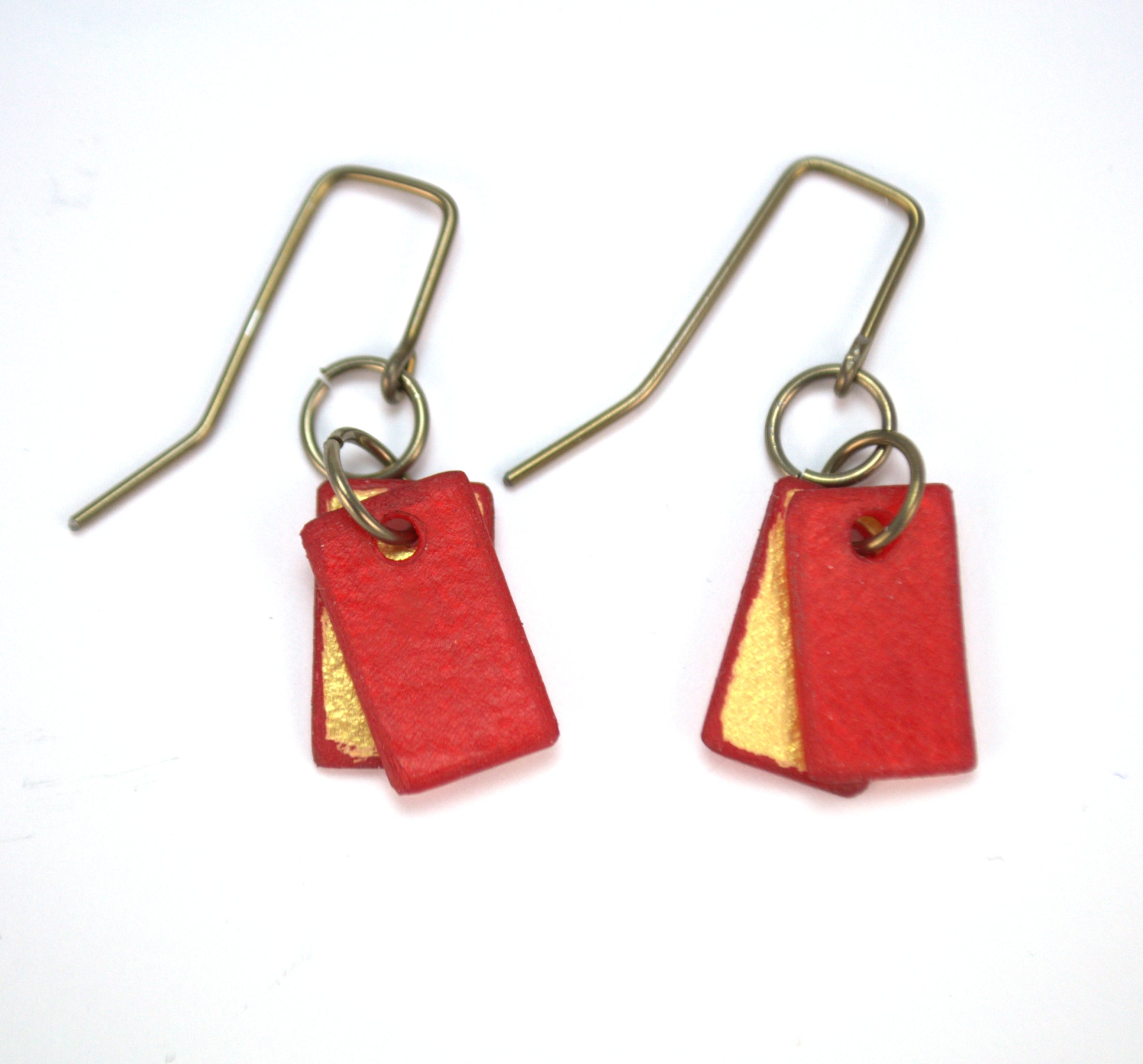 Mini red rectangle earrings, made from rawhide in Cheyenne Wyoming, hypoallergenic