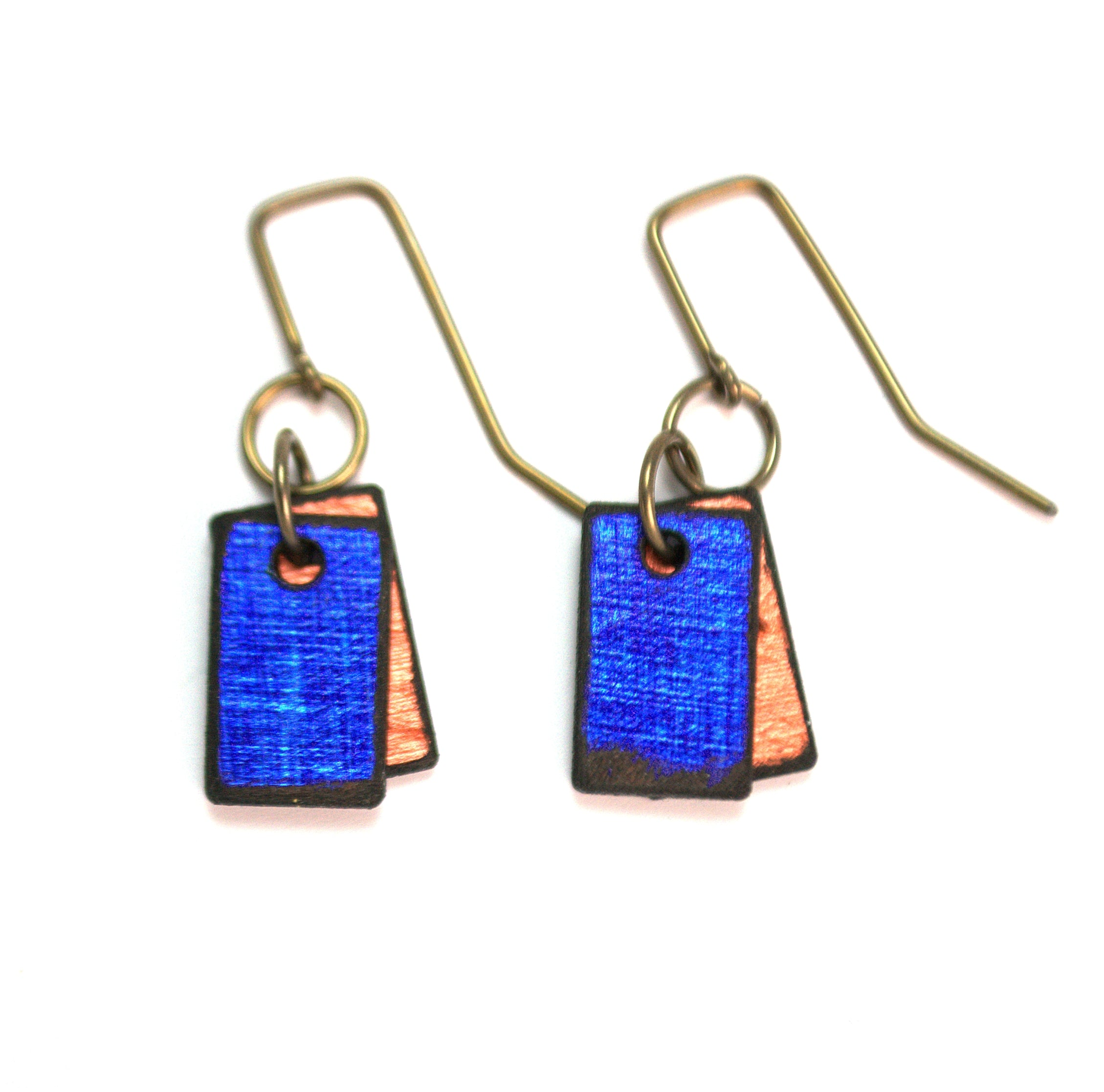 Mini sapphire rectangle earrings, made from rawhide in Cheyenne Wyoming, hypoallergenic